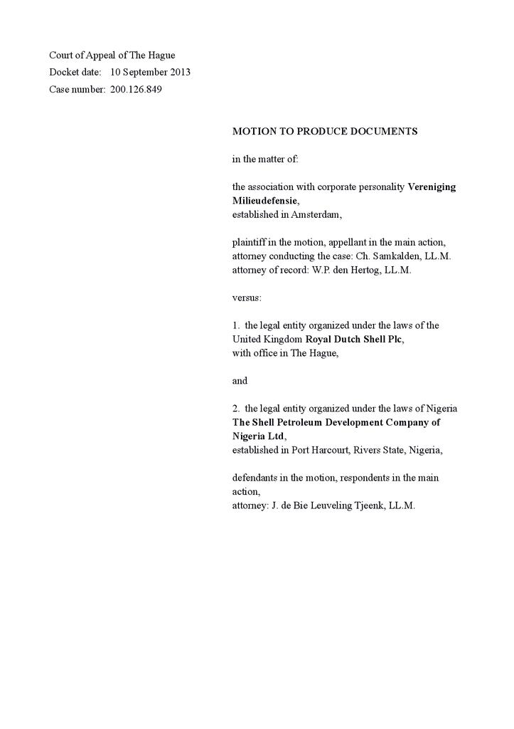Voorbeeld van de eerste pagina van publicatie 'Shell courtcase: Motion to produce documents Ikot Ada Udo'