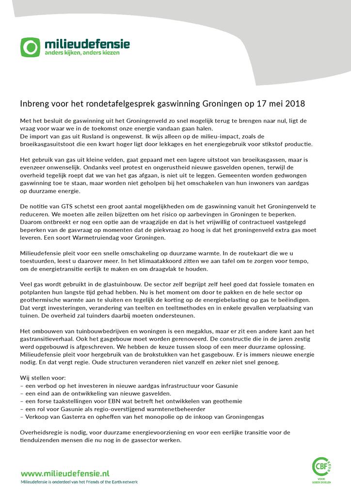 Voorbeeld van de eerste pagina van publicatie 'Inbreng voor het rondetafelgesprek gaswinning Groningen op 17 mei 2018'