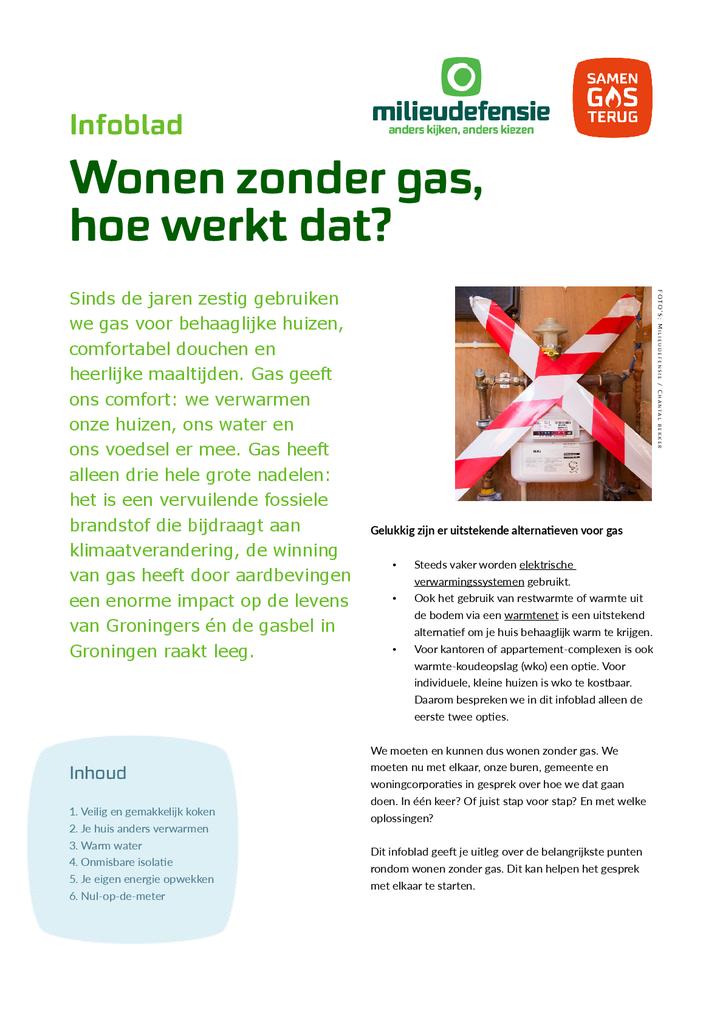 Voorbeeld van de eerste pagina van publicatie 'Infoblad Wonen zonder Gas'