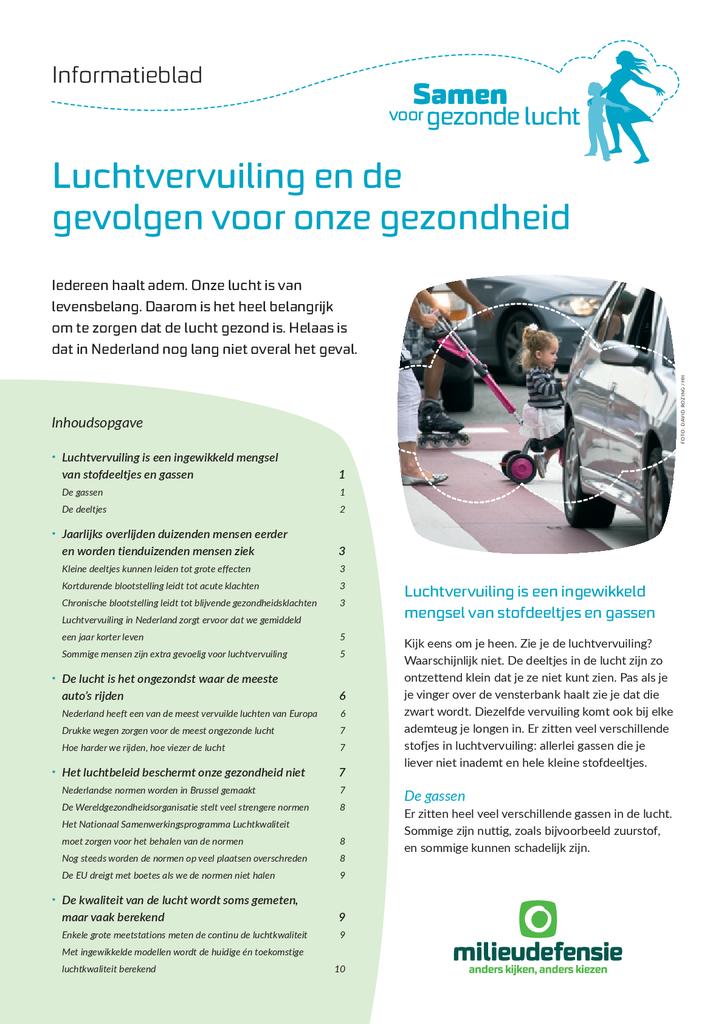Voorbeeld van de eerste pagina van publicatie 'Informatieblad: Luchtvervuiling en de gevolgen voor onze gezondheid'