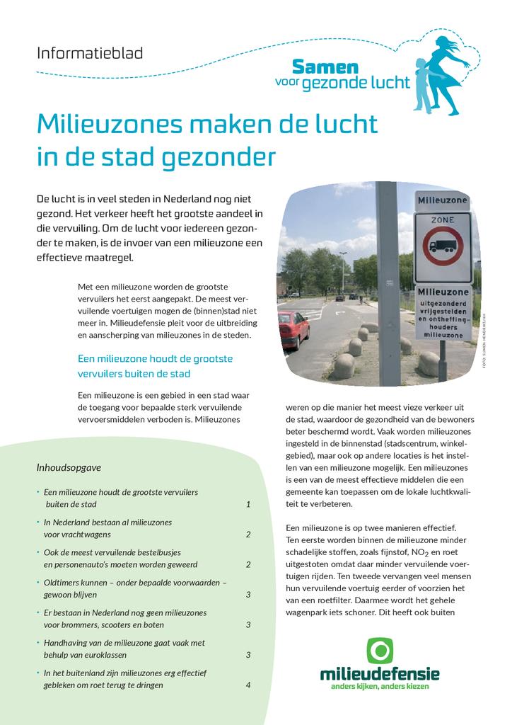 Voorbeeld van de eerste pagina van publicatie 'Informatieblad: Milieuzones maken de lucht in de stad gezonder'