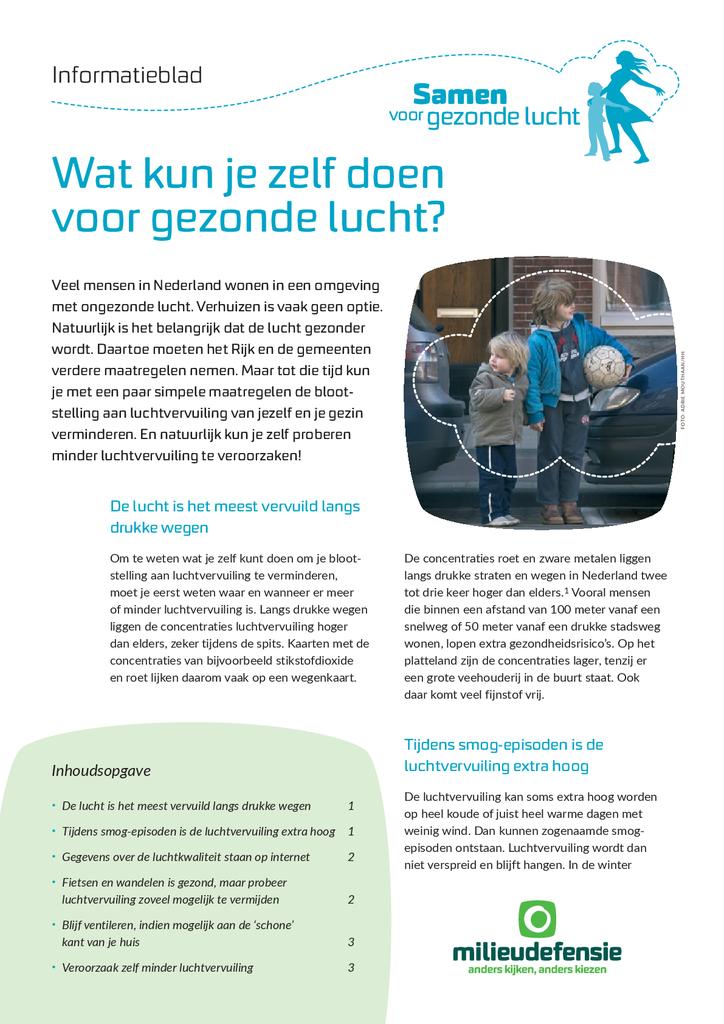 Voorbeeld van de eerste pagina van publicatie 'Informatieblad: Wat kun je zelf doen voor gezonde lucht?'