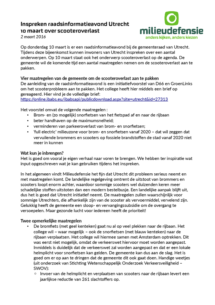 Voorbeeld van de eerste pagina van publicatie 'Inspiratie voor inspraak gemeente Utrecht scooteroverlast'