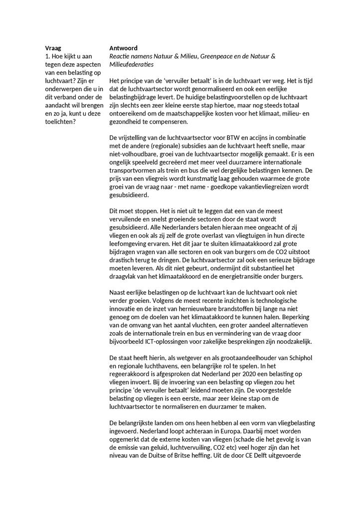 Voorbeeld van de eerste pagina van publicatie 'Aanbiedingsbrief internetconsultatie luchtvaartbelasting'