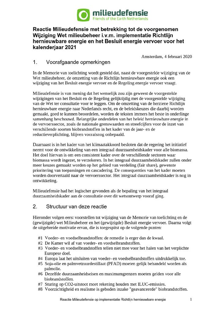 Voorbeeld van de eerste pagina van publicatie 'Reactie op wetsvoorstel Wijziging Wet Milieubeheer'