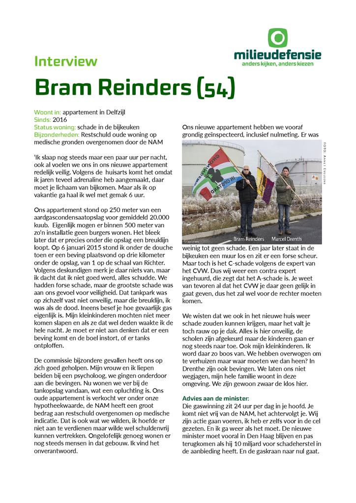 Voorbeeld van de eerste pagina van publicatie 'Interview met Groninger Bram Reinders'