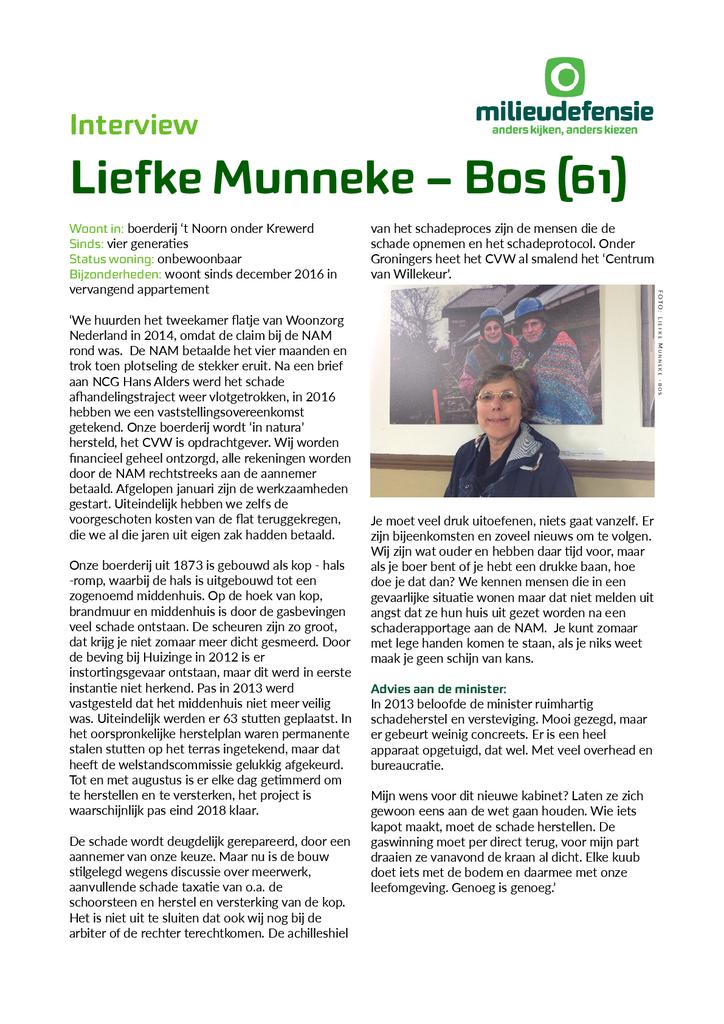 Voorbeeld van de eerste pagina van publicatie 'Interview met Groningse Liefke Munnike'