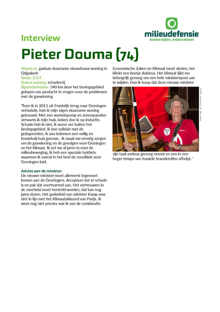 Voorbeeld van de eerste pagina van publicatie 'Interview met Groninger Pieter Douma'