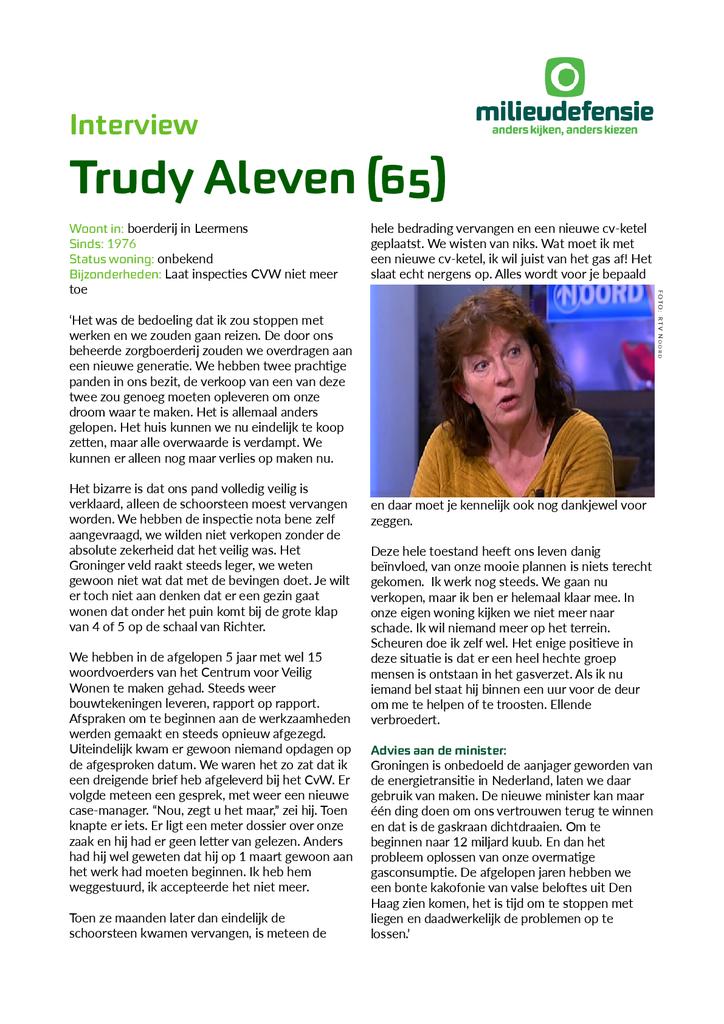 Voorbeeld van de eerste pagina van publicatie 'Interview Groningse Trudy Aleven'