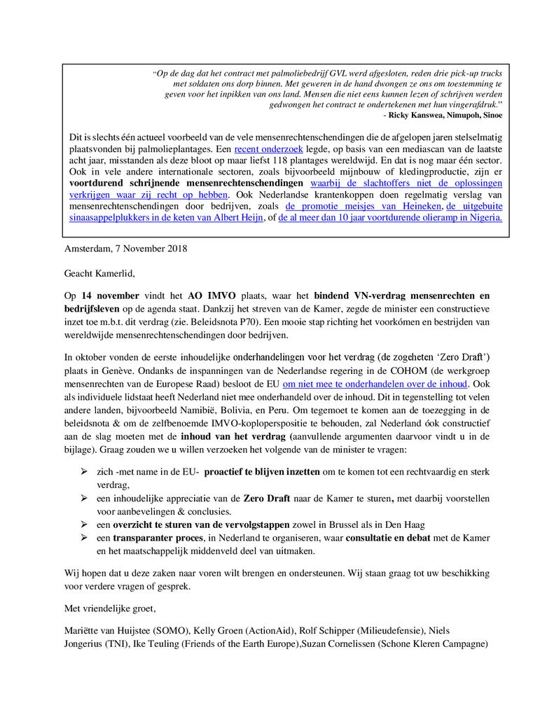 Voorbeeld van de eerste pagina van publicatie 'Lobbybrief: inzet nodig voor VN-mensenrechtenverdrag'
