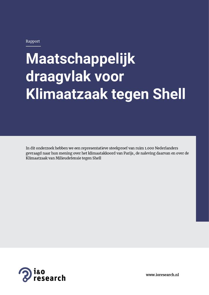 Voorbeeld van de eerste pagina van publicatie 'Onderzoek naar maatschappelijk draagvlak voor klimaatzaak tegen Shell'