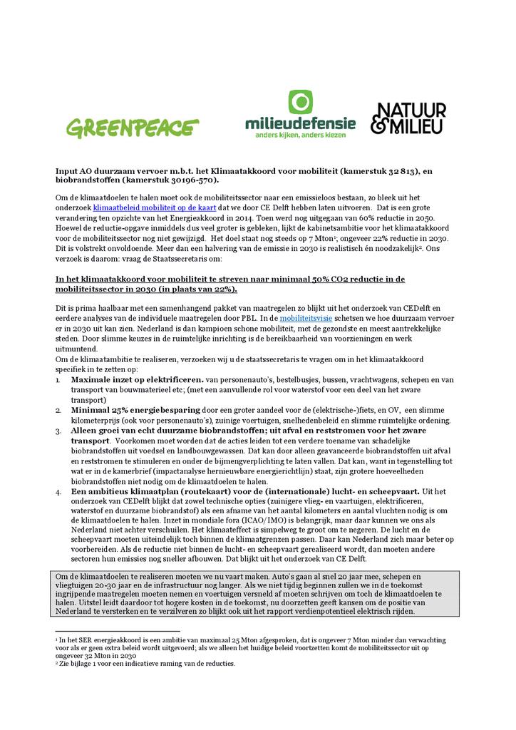 Voorbeeld van de eerste pagina van publicatie 'Input voor Algemeen Overleg duurzaam vervoer - 19 april 2018'
