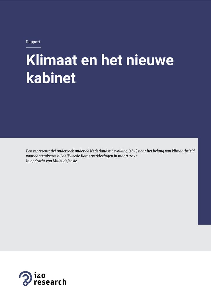 Voorbeeld van de eerste pagina van publicatie 'Onderzoek: Klimaat en het nieuwe kabinet'