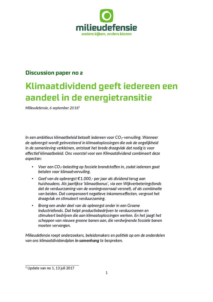 Voorbeeld van de eerste pagina van publicatie 'Klimaatdividend voor eerlijk Omschakelen'