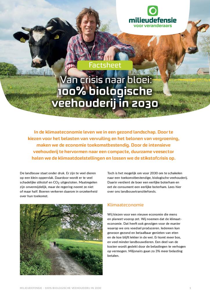 Voorbeeld van de eerste pagina van publicatie 'Landbouwtransitiefonds: in 10 jaar naar een 100% biologische veehouderij'