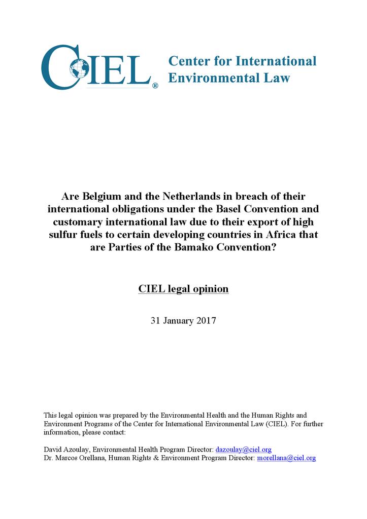 Voorbeeld van de eerste pagina van publicatie 'CIEL legal opinion on Dirty Diesel'