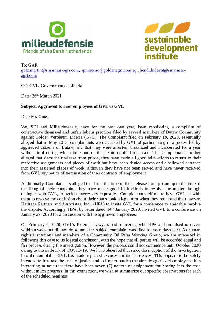 Voorbeeld van de eerste pagina van publicatie 'Brief over misstanden in Liberia'