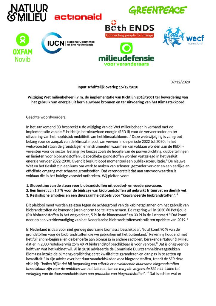 Voorbeeld van de eerste pagina van publicatie 'Inbreng SO Wijziging Wet milieubeheer'
