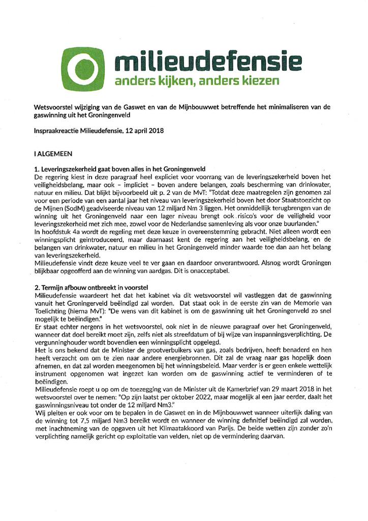 Voorbeeld van de eerste pagina van publicatie 'Lobbybrief: Herziening Gas- en Mijnbouwwet 2018 Groningenveld'