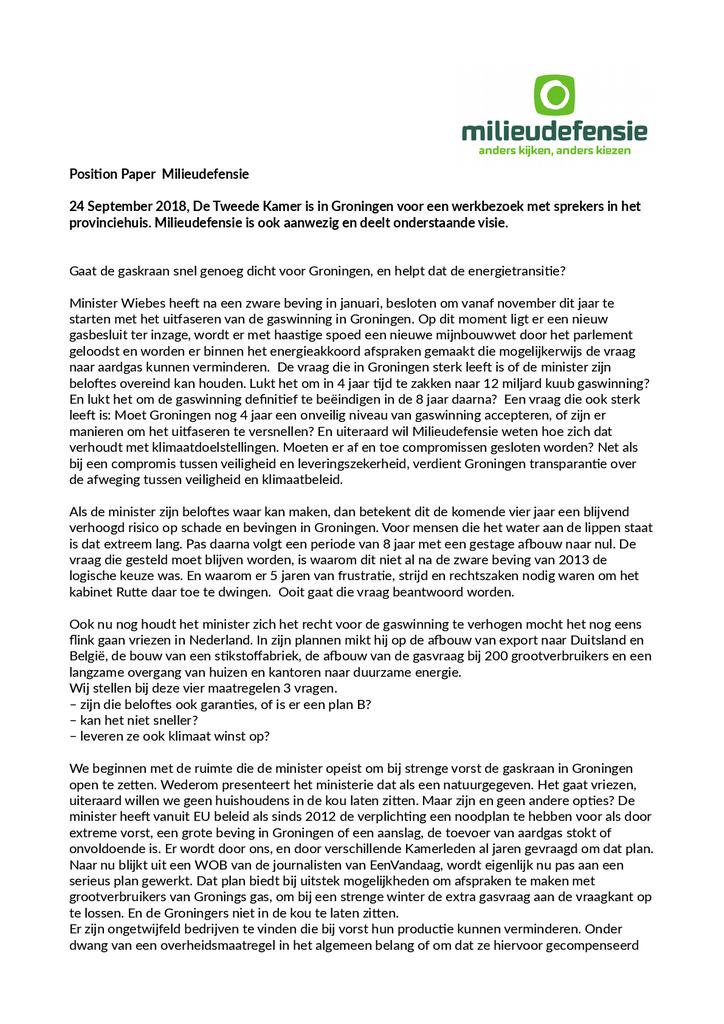Voorbeeld van de eerste pagina van publicatie 'Lobbybrief tijdens werkbezoek Tweede Kamer in Groningen'
