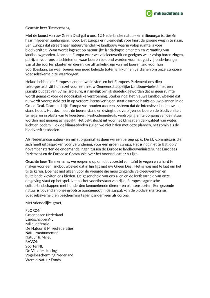 Voorbeeld van de eerste pagina van publicatie 'Brief aan Timmermans over over het (nieuw) Europees landbouwbeleid en de Green Deal'