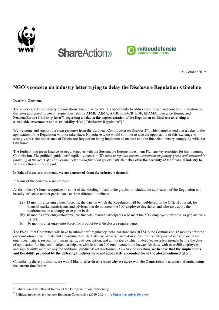 Voorbeeld van de eerste pagina van publicatie 'Brief aan de EU Commissie over regels voor groene transparante beleggingen'