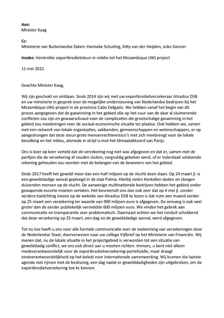Voorbeeld van de eerste pagina van publicatie 'Brief aan demissionair minister Kaag over misstanden in Mozambique'