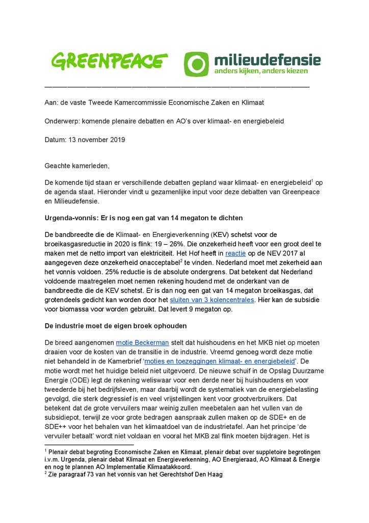 Voorbeeld van de eerste pagina van publicatie 'Input voor debatten klimaat- en energiebeleid'