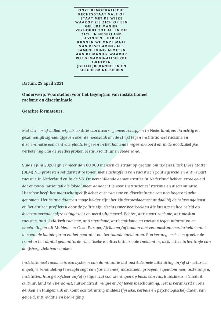 Voorbeeld van de eerste pagina van publicatie 'Brief over tegengaan institutioneel racisme en discriminatie'