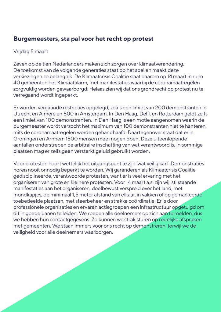 Voorbeeld van de eerste pagina van publicatie 'Lobbybrief: verzeker het recht op protest'