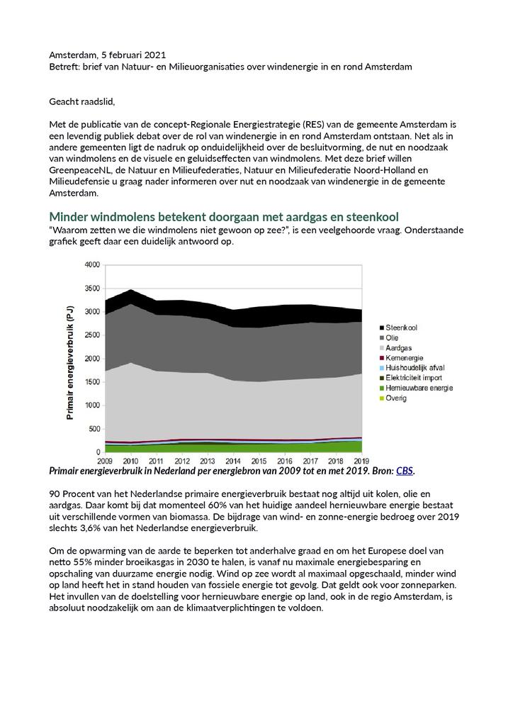 Voorbeeld van de eerste pagina van publicatie 'Lobbybrief: nut en noodzaak windenergie Amsterdam'