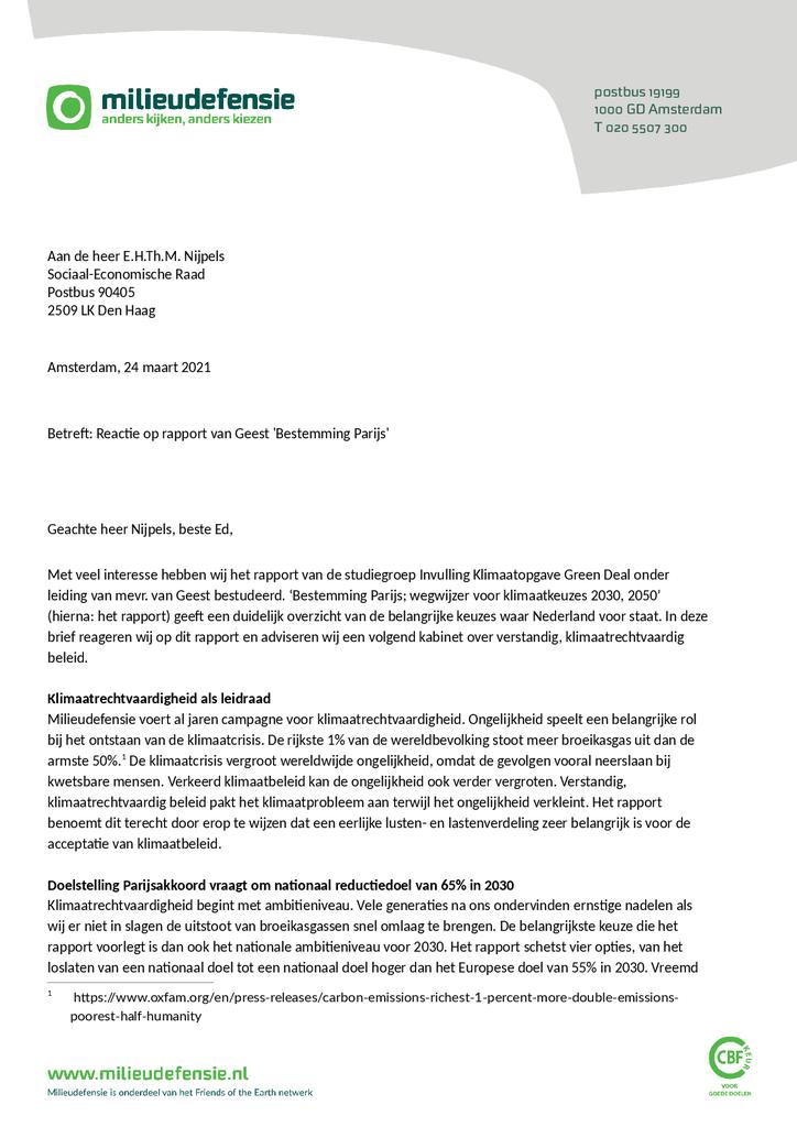 Voorbeeld van de eerste pagina van publicatie 'Brief aan de heer Nijpels met een reactie op het rapport van de studiegroep Invulling Klimaatopgave Green Deal'