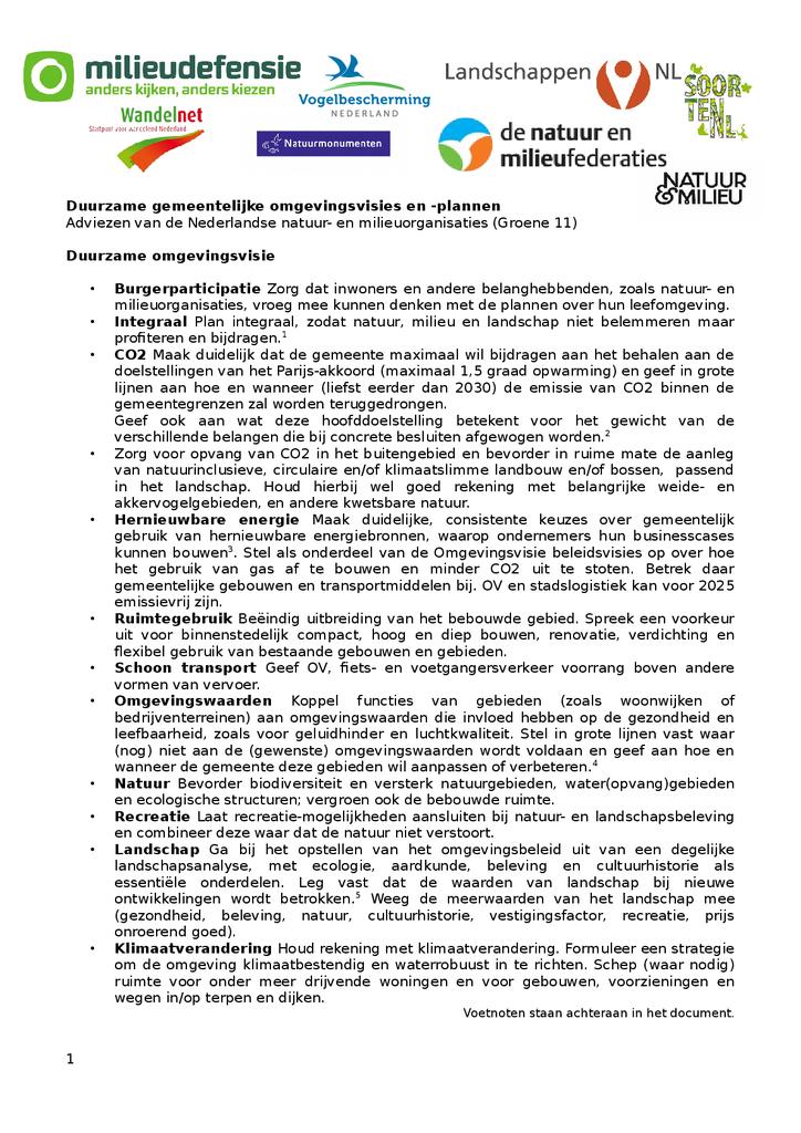 Voorbeeld van de eerste pagina van publicatie 'Wensenlijst voor duurzame omgevingsplannen.'
