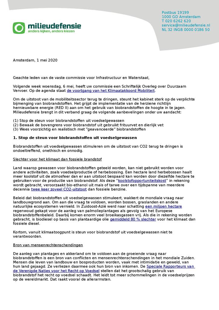Voorbeeld van de eerste pagina van publicatie 'Brief voor het Schriftelijk Overleg over Duurzaam Vervoer'