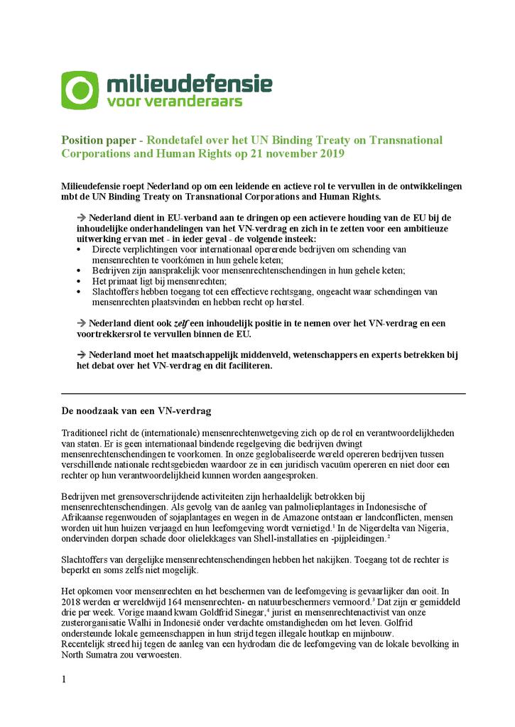 Voorbeeld van de eerste pagina van publicatie 'Position paper over het UN Binding Treaty on Transnational Corporations and Human Rights'
