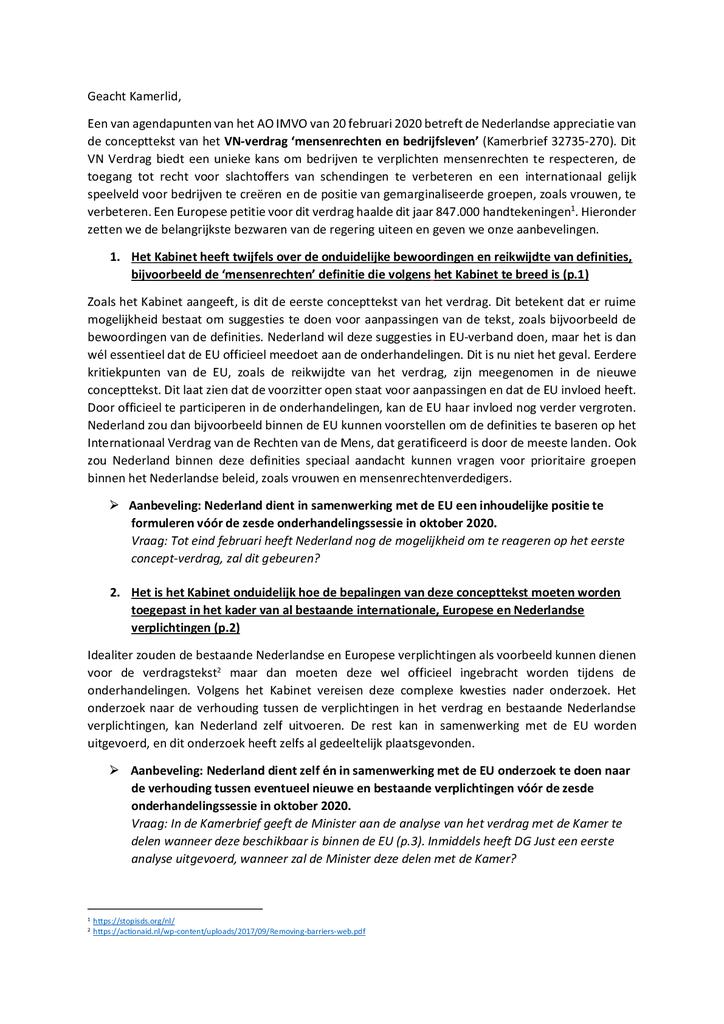 Voorbeeld van de eerste pagina van publicatie 'Lobbybrief: 4 aanbevelingen over het VN-verdrag mensenrechten en bedrijfsleven'