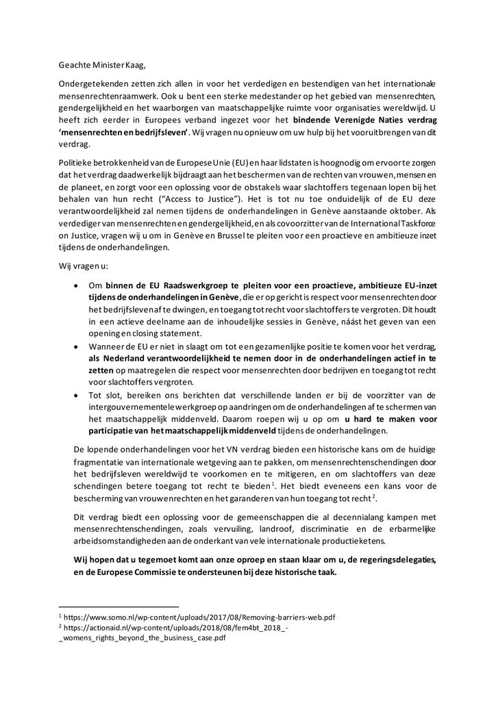 Voorbeeld van de eerste pagina van publicatie 'Brief aan Minister Kaag: steun het VN-verdrag voor bedrijfsleven en mensenrechten'