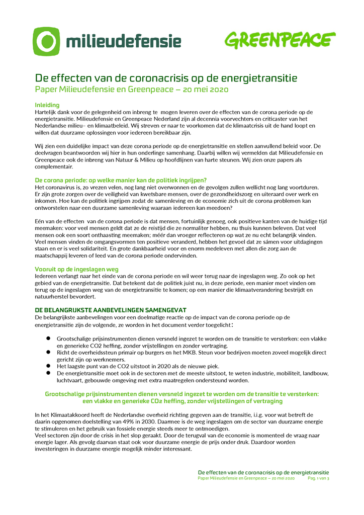 Voorbeeld van de eerste pagina van publicatie 'De effecten van de coronacrisis op de energietransitie'
