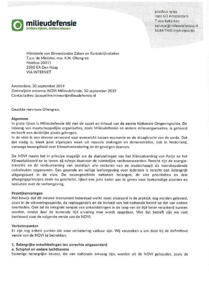 Voorbeeld van de eerste pagina van publicatie 'Brief aan minster Ollengren over de Nationale Omgevingsvisie'