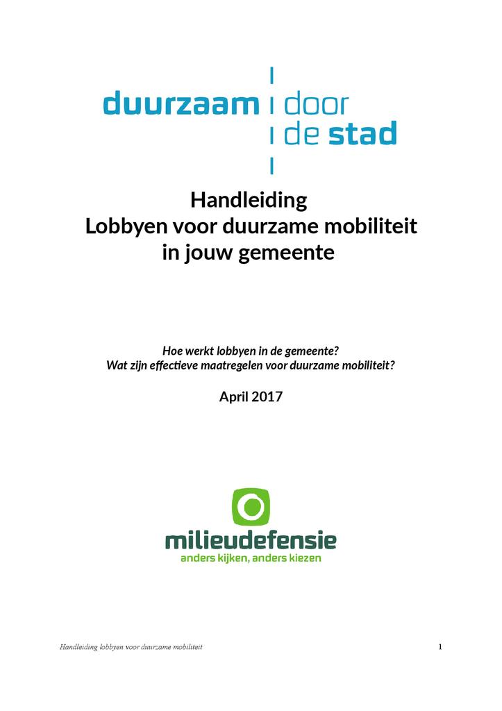 Voorbeeld van de eerste pagina van publicatie 'Lobbyhandleiding Duurzaam door de Stad'