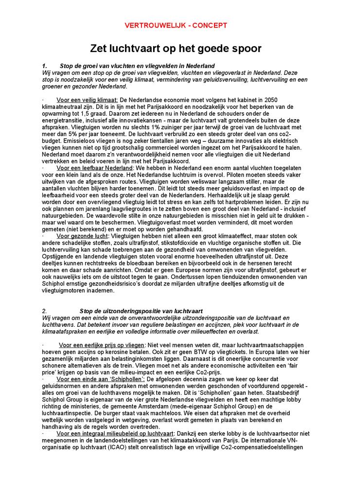 Voorbeeld van de eerste pagina van publicatie 'Luchtvaartmanifest: Zet luchtvaart op het goede spoor'