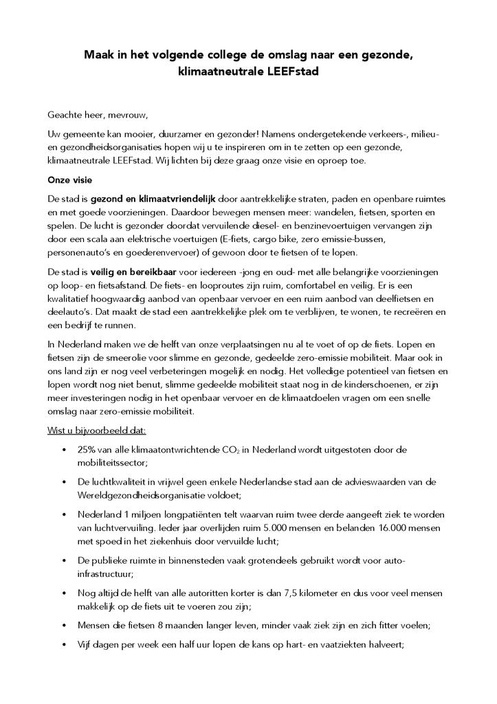 Voorbeeld van de eerste pagina van publicatie 'Brief: Maak van jouw stad een LEEFstad'