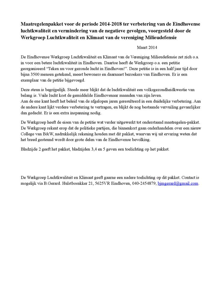 Voorbeeld van de eerste pagina van publicatie 'Maatregelenpakket voor gezonde lucht in Eindhoven'