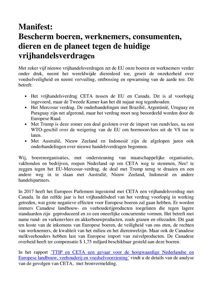 Voorbeeld van de eerste pagina van publicatie 'Manifest: Bescherm boeren, werknemers, consumenten, dieren en de planeet tegen de huidige vrijhandelsverdragen'