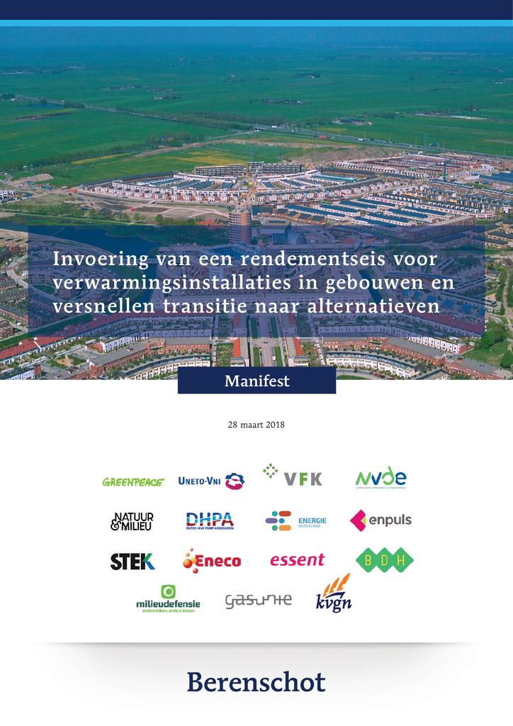 Voorbeeld van de eerste pagina van publicatie 'Manifest: Invoering van een rendementseis voor verwarmings-installaties in gebouwen'