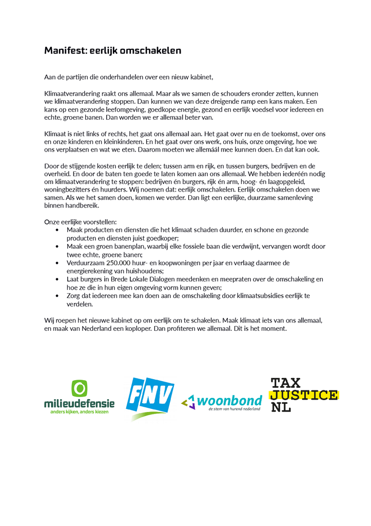 Voorbeeld van de eerste pagina van publicatie 'Manifest Eerlijk Omschakelen'