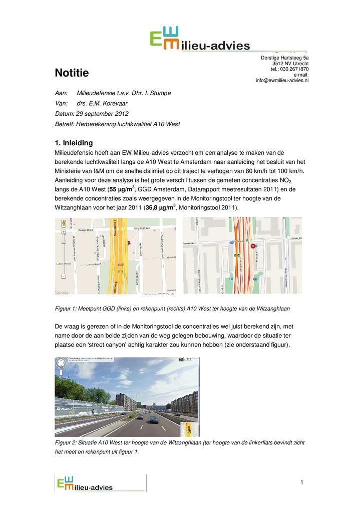 Voorbeeld van de eerste pagina van publicatie 'Memo Herberekening luchtkwaliteit A10 West'