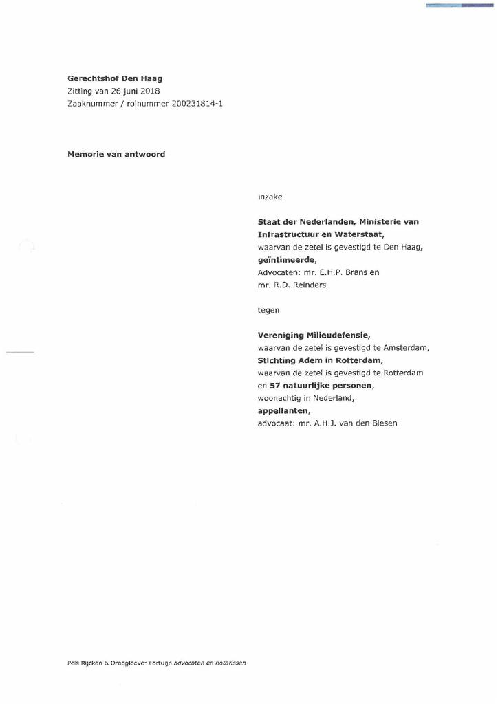 Voorbeeld van de eerste pagina van publicatie 'Memorie van Antwoord Staat in hoger beroep bodemprocedure gezonde lucht'