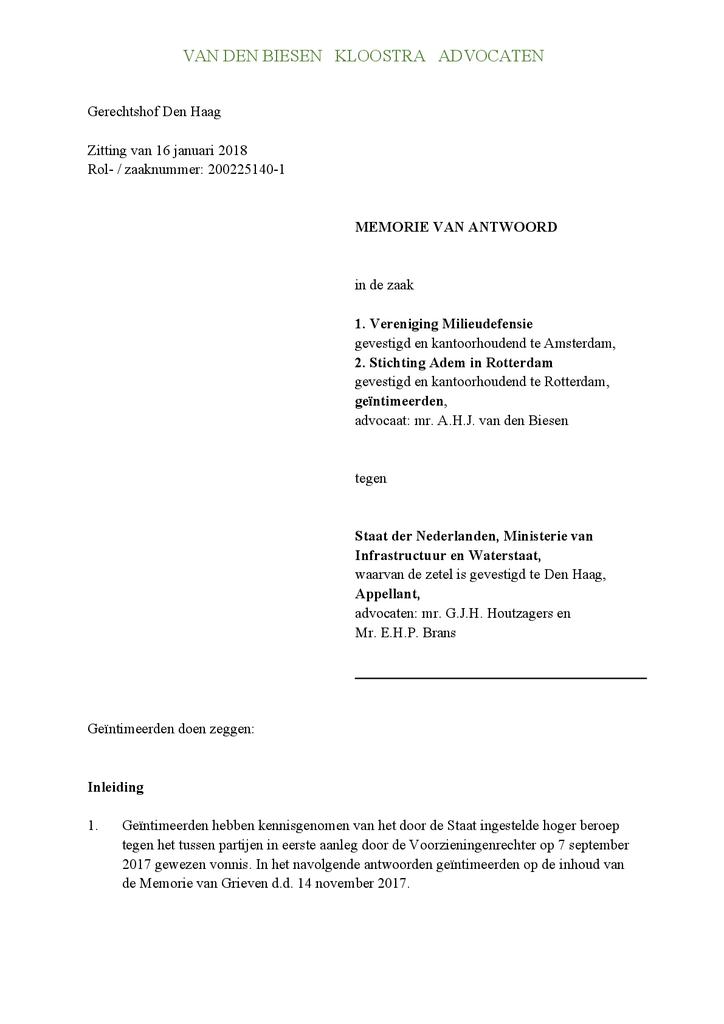 Voorbeeld van de eerste pagina van publicatie 'Memorie van Antwoord Milieudefensie in hoger beroep kort geding gezonde lucht'