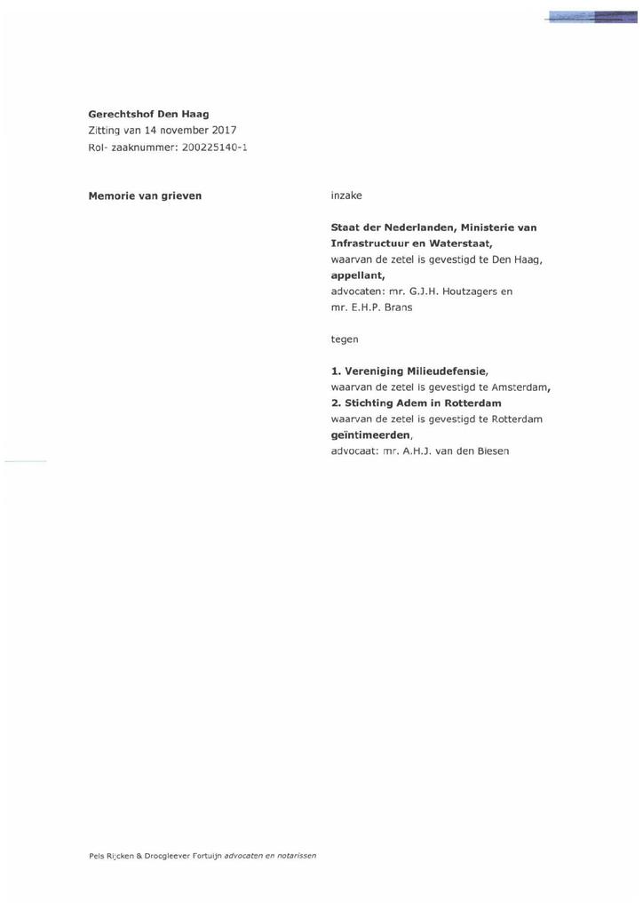 Voorbeeld van de eerste pagina van publicatie 'Memorie van Grieven Staat in hoger beroep kort geding gezonde lucht'